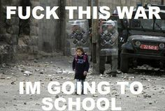Wow. Little girl walking to school while soldiers stand behind shields. #fem2 #women