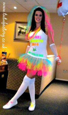 neon hen night bride outfit