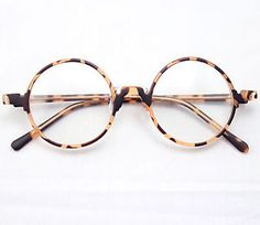 Vintage Retro Round Amber Leopard Tortoise Shell Eyeglass Frames Spectacles RX