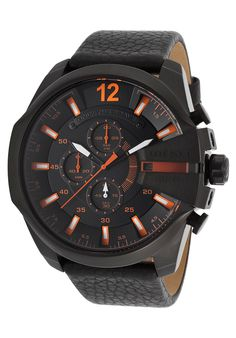 Diesel Men's Mega Chief Chronograph Black Genuine Leather and Dial - Watch DZ4291,    #Diesel,    #DZ4291,    #WatchesCasualQuartz