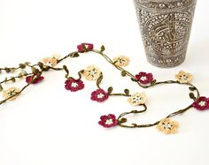 Crochet Necklace Daisies Poppies Oya Beaded Lariat by ReddApple