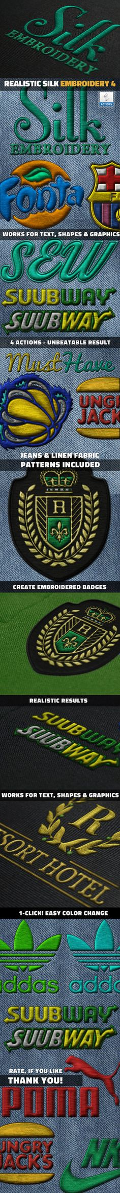 DOWNLOAD:goo.gl/UAG61q This Photoshop action will allow you tocreate a realistic silk embroidery effect from text and shapes. There are 4 main actions included plus 7 actions for customizatio...