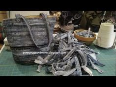 Denim Bag Tutorial uses the flat felled leg seams to make a bag- video,