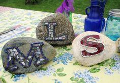 Sue's 'Rock Star' mosaic rocks 'Initial' rock stars Mosaic Crafts, Mosaic Projects, Mosaic Ideas, Mosaic Designs, Mosaic Patterns, Mosaic Rocks, Stone Mosaic, Rock Mosaic, Mosaic Bowling Ball