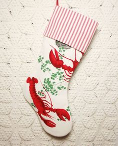 Whimsical Lobsters Wilendur Vintage Tablecloth and Ticking Christmas Stocking