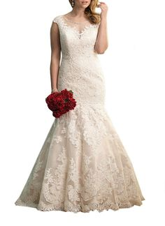 Unique Cap Sleeves Mermaid Lace Wedding Dress for brides 2016 #DorisWedding #lace #wedding #dresses #wedding #dress #lace #wedding #dress #styles #affordable #wedding #dresses #unique #wedding #dresses