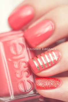 Essie - Carousel Coral swatch nail polish coral gold nail art gold striping tape nail art manicure