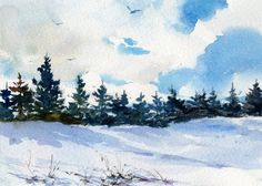 "WATERCOLOR PRINT - Winter Landscape by Linda Henry entitled: ""Ski Country"" - Available in 2 sizes with a Custom-cut Mat (#159)"