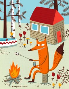 kids • illustration • children • book • art • drawing • cottage • fox • marshmallow • summer • holiday • canoe • lake • fun • relaxing