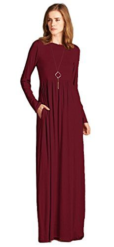 3114aa25ec Tabeez Women s Babydoll Jersey Maxi Dress with Long Sleeves (Extra Large