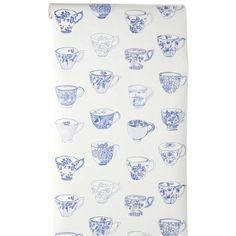 Vliesbehang Babet heeft een té leuk dessin van Delftsblauwe kopjes. Kleur: blauw.