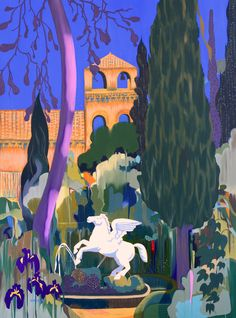 Michal Korman: Aux cyprès de Villa d'Este, oil on canvas 130x97cm, 2016