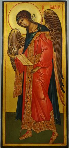 St Archangel Gabriel (full body) - This is a premium quality icon painted using traditional technique - egg tempera, solid lime wood panel, varnish, gold leaf.  A matching set icon of St Archangel Michael in the same size and style can be found here. About our icons Blessedmart offers hand-painted religious icons that follow the Russian, Greek, Byzantine