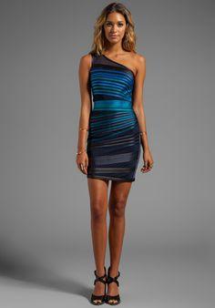 HALSTON HERITAGE One Shoulder Dress in Blue Ombre - Dresses