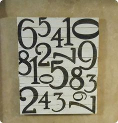 Number pallet art inspired by Pottery Barn