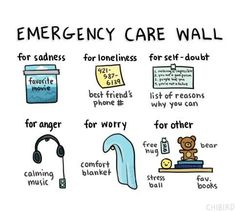 """your own """"emergency care wall."""" Build your own """"emergency care wall. Feeling Stressed, Feeling Sad, Stressed Out, When Youre Feeling Down, How Are You Feeling, Crafts To Do When Your Bored, Calming Music, Emergency Care, Messages"""
