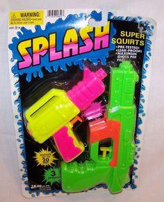 Vintage JA-RU SPLASH - Super Squirts - Water Guns Pistols - Fun Colors - 1994 #JARU