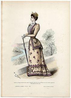 L'Art et la Mode 1891 N°28 Marie de Solar, hand colored fashion plate
