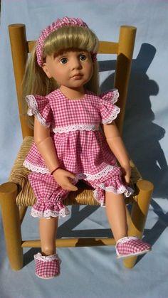 ENSEMBLE PYJAMA POUR POUPEE GOTZ, BONNIE AND PEARL , ou poupées de 48-52 cm