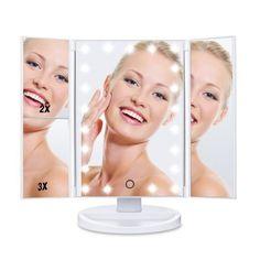 HAMSWAN espejo maquillaje tríptico con luz y umentos por 23,99 €  El espejo de #maquillaje HAMSWAN está hecho con materiales #ecológicos y vidrio para asegurar una apariencia #agradable, peso ligero y uso seguro para todas aquellas #personas a las que les gusta la belleza y el cuidado #personal.   #belleza #chollos #maquillaje #ofertass