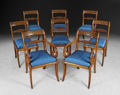 Wonderful set of 8 Regency mahogany dining chairs, six side chairs and two armchairs made Circa 1810