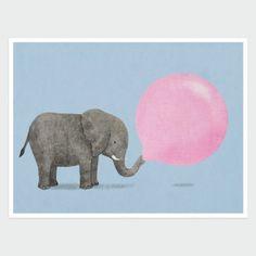 Jumbo Bubble Gum Art Print by Terry Fan - fun in a kid's room Bubble Birthday Parties, Animal Art Prints, Animal Rug, Terry Fan, Bubble Art, Popular Art, Cute Comics, Art Wall Kids, Cute Art