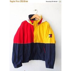 TOMMY Hilfiger Color Block Neon Vintage 90's Hip Hop Yellow Red... ❤ liked on Polyvore featuring outerwear, jackets, neon windbreaker, wind breaker jacket, red windbreaker jacket, vintage windbreaker and vintage windbreaker jacket