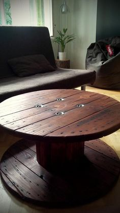 Table from old cable drum...