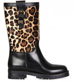 DOLCE & GABBANA Black Leather & Leopard Print Calf Hair Biker Boots  from www.profilefashion.com