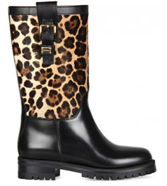 DOLCE & GABBANA Black Leather & Leopard Print Calf Hair Biker Boots  from www.profilefashion.com