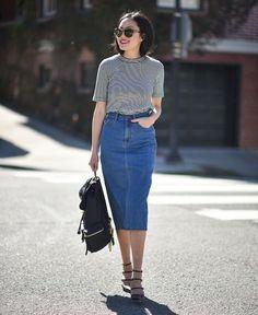 Street Style Saia Jeans Midi
