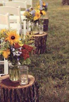 Perfect for outdoor ceramony. Then have bridal party set them (flowers/candles) at tables as your center pieces.