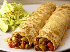 Spicy Beef Picadillo Crepes with Chipotle Crema