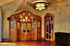 Art nouveau wooden and stained glass interior door, Casa Batllo, Barcelona. Antoni Gaudi, 1904-1906