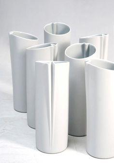 Architectural White Ceramic Carafe / Pitcher