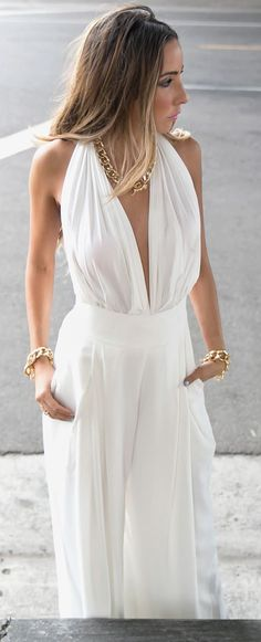 Haute And Rebellious Shop White Palazzo Pants Deep Plunge V-neck Jumpsuit by Haute And Rebellious