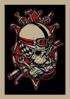 The art of Jeral Tidwell Motorcycle Art, Bike Art, Skull Helmet, Rockabilly Art, Desenho Tattoo, Kustom Kulture, Skull And Bones, Skull Art, Tribal Tattoos