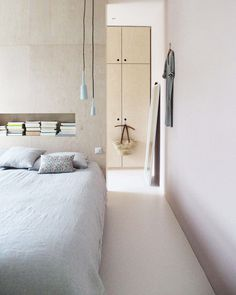 bedroom: gorgeous minimal bedroom with ply walls and cupboards