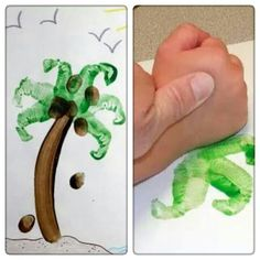 Palmboompje maken met de handpalm! Leuke zomer knutsel! Thema Hawaii, Projects For Kids, Art Projects, Daycare Crafts, Toddler Art, Roald Dahl, Summer Crafts, Drawing For Kids, Beach Party