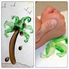 Palmboompje maken met de handpalm! Leuke zomer knutsel!