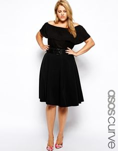 ASOS CURVE Exclusive Midi Skirt With High waist And Belt - love this skirt/top combo, not sure if I can get away with the off the shoulder look though, I have huge boobs :-/