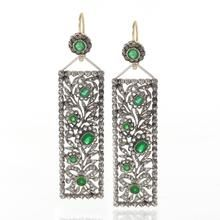 Antique Diamond, Emerald. Gold and Silver Earrings