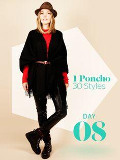 Unsere Stylight Challenge: 30 Tage Poncho tragen - aber immer anders kombiniert. Heute hat Vroni keine Lust auf weite Silhouetten undtrimmt ihr Poncho-Outfit mit einem Taillengürtel auf Figur.