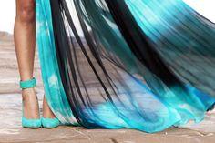 a little tie-dye glamour.     Just Cavalli Dress, Jennifer Hawkins for Siren Heels