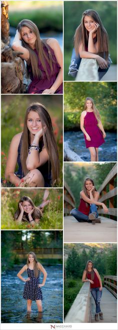 Senior poses outdoor by a river and a bridge.