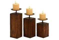 Wood Rise Candleholders, Asst. of 3 on OneKingsLane.com