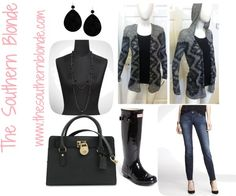 Rainy Day Wear featuring an Aztec cardigan, Hunter boots, & Michael Kors handbag | The Southern Blonde  #styleblog #fashionblog #styleblogger
