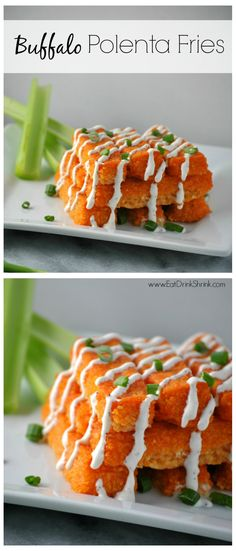 Baked Vegan Buffalo Polenta Fries topped with blue cheese!