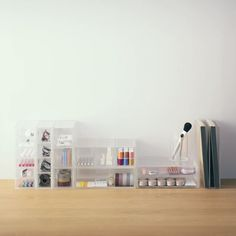 These beautiful, scratch-resistant acrylic storages help to keep your desk organised.  #mujimy #stationery #storage