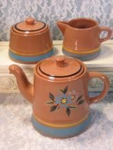 Stangl Pottery Morning Blue Teapot Cream Sugar